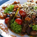 Asian Beef Salad with Crunchy Yum Yum Peanut Butter Sauce