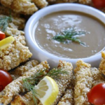 Crispy Sesame Seed Fish Strips with Creamy Peanut Butter Satay