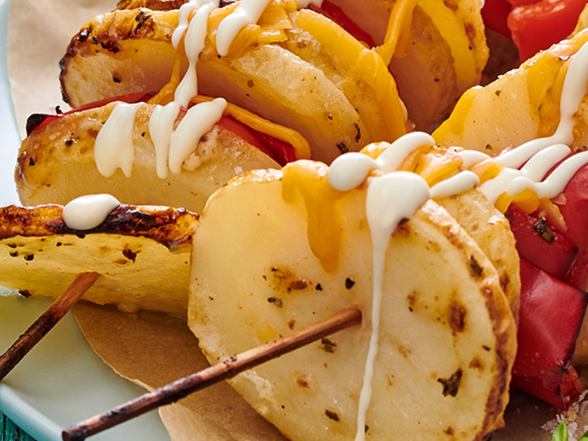 Unathi's Roast Potato Skewers with Dipping Sauce