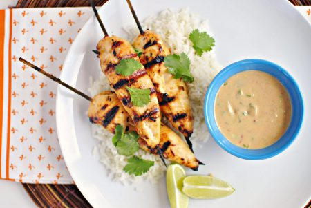 Chicken sosaties with peanut butter sauce