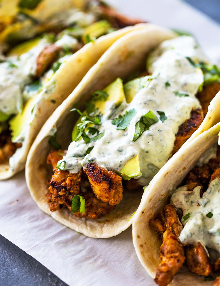 OPEN CHICKEN TACO WITH GUACAMOLE & CHARRED CORN