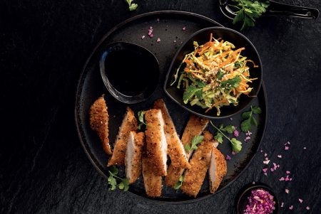 PAN-FRIED CHICKEN SCHNITZEL WITH AN ASIAN PINEAPPLE SLAW