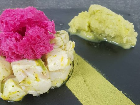 PERUVIAN KINGKLIP CEVICHE SERVED WITH BEETROOT SPONGE & SORBET