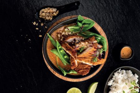 PAN FRIED CHICKEN SCHNITZEL WITH A THAI RED CURRY SAUCE & JASMINE RICE